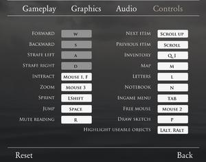 In-game key bindings.