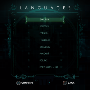 Localization settings.