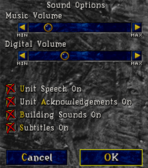 In-game audio settings menu.