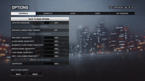 In-game advanced control settings.