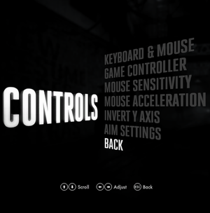 Controls settings