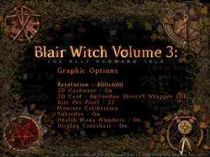 Graphic options menu.