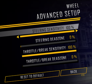Advanced wheel options.