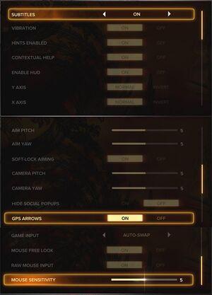 Controls settings.