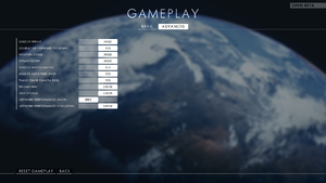 In-game advanced gameplay settings.