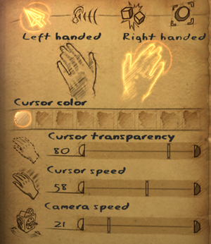 Cursor settings[Note 6]