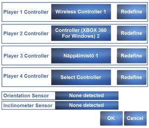 Input settings in launcher.