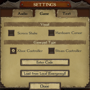 Various game settings.
