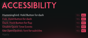 In-game accessibility settings.