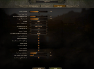 Mouse and gameplay settings.