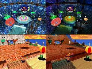 Software rendering (left), Glide rendering (right).