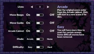 General settings (Dragon's Lair).