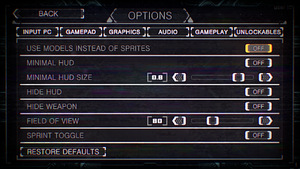 Gameplay settings