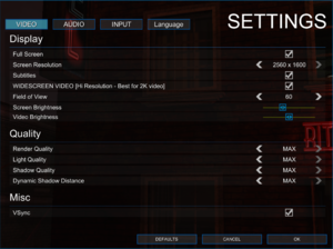 In-game video settings.
