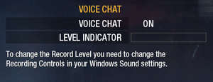Voice chat settings