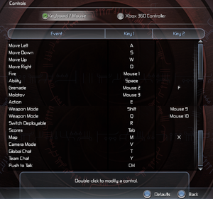 In-game keyboard and mouse bindings.