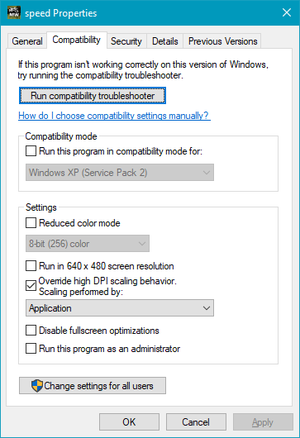 Windows 10 Compatibility Settings.