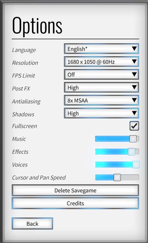 In-game audio and video settings.