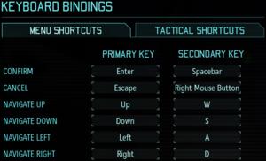 In-game input settings, menu bindings.