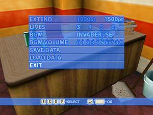 Options screen.