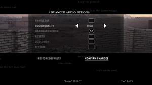 In-game advanced audio settings.