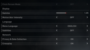 Game settings [Note 2]
