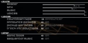 Audio options.