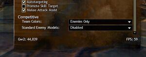 Lower video settings menu.