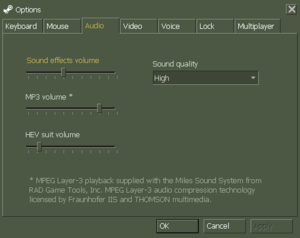 In-game audio settings (Steam version)
