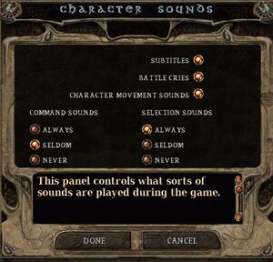 Character sound settings.