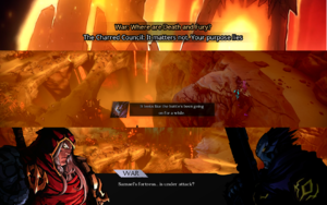 Screenshot showing subtitles during FMVs, gameplay and dialogues (top to bottom).