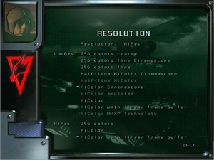 Resolution settings (this menu is not available when using 3dfx / glide)