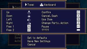 Keyboard rebinding with default keys.
