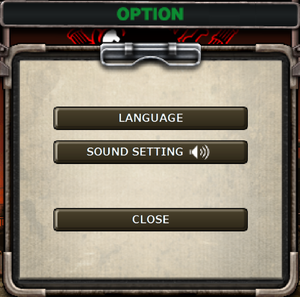Audio settings. Clicking this option mutes the game.