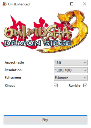 OnimushaEnhanced settings.