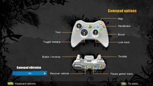 Gamepad input settings.