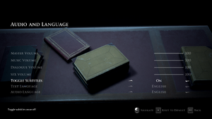 In-game Audio and Language Settings.