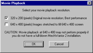 In-game movie playback settings.