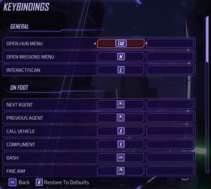 Keybindings settings