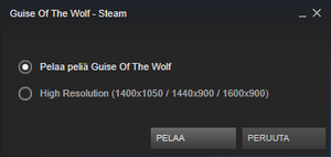 Steam popup to select resolution.