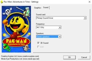 Pac-Man: Adventures in Time sound -setup menu.