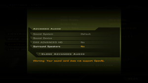 In-game advanced audio settings.