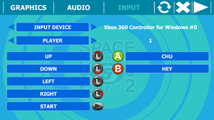 Configuration tools input tab with controller.