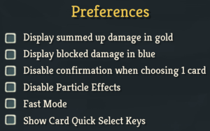 In-game preferences.