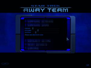 Main settings menu