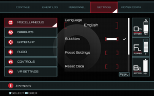 In-game miscellaneous settings