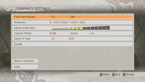 Video options menu