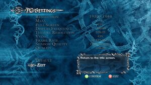 PC settings with graphics and display settings