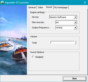 Launcher audio settings.