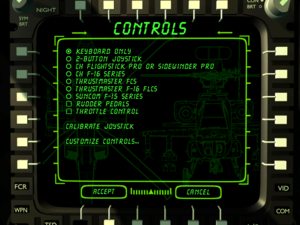 Control settings during flight.
